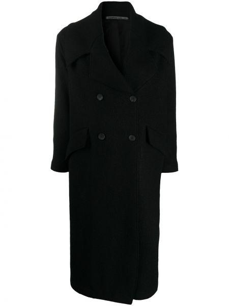 Шерстяное черное вязаное длинное пальто Transit