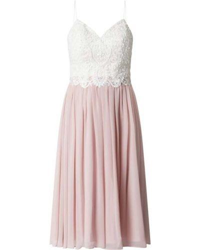 Różowa sukienka koktajlowa rozkloszowana z szyfonu Laona