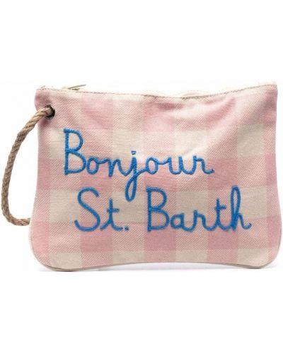 Różowa kopertówka bawełniana z haftem Mc2 Saint Barth Kids