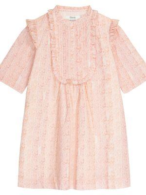 Ватное хлопковое розовое платье Bonpoint