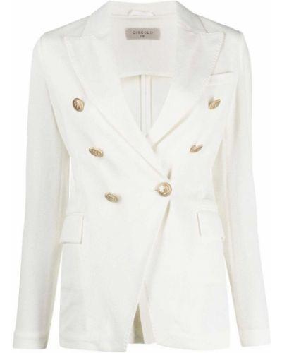 Белый удлиненный пиджак двубортный на пуговицах Circolo 1901