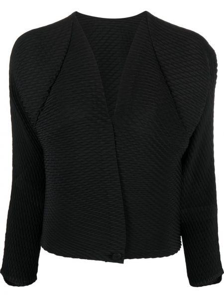 Плиссированный черный удлиненный пиджак с вырезом Issey Miyake