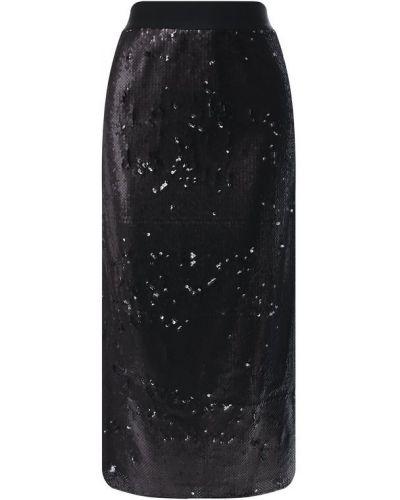 Юбка с пайетками черная Nude