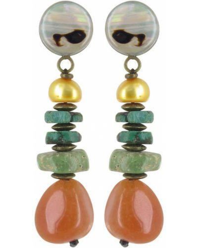 Серьги с жемчугом с камнями Nature Bijoux