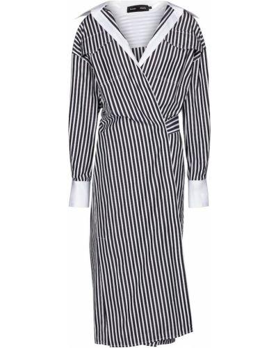 Хлопковое черное платье-рубашка в полоску Proenza Schouler
