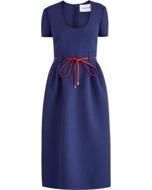Платье с поясом с декольте на молнии Valentino
