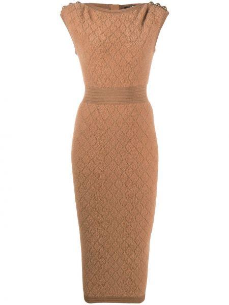 Brązowa złota sukienka midi bez rękawów Balmain
