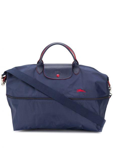 Skórzana torebka z uchwytem z haftem Longchamp