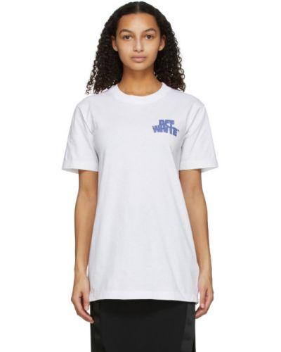 Niebieski bawełna z rękawami koszula z kołnierzem Off-white