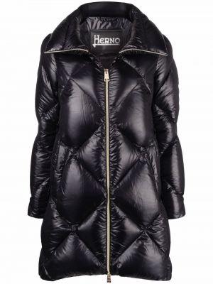Черное стеганое пальто на молнии с гусиным пухом Herno