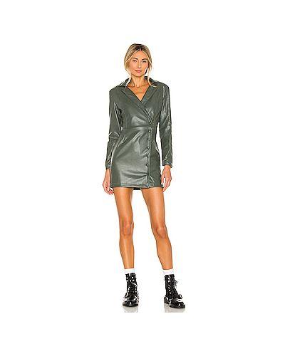Кожаное зеленое платье мини с подкладкой Kendall + Kylie