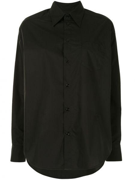 Czarny klasyczna koszula z kołnierzem z mankietami zapinane na guziki Mm6 Maison Margiela