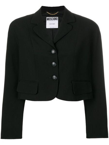Однобортный черный пиджак винтажный на пуговицах Moschino Pre-owned