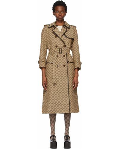 Beżowy długi płaszcz z paskiem z klamrą Gucci