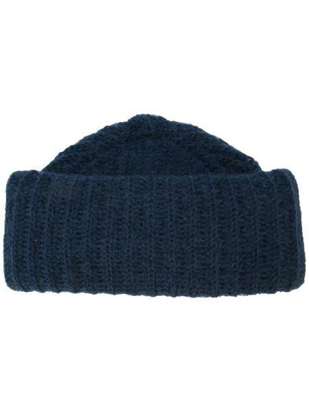 Prążkowany niebieski czapka beanie wełniany Marzi