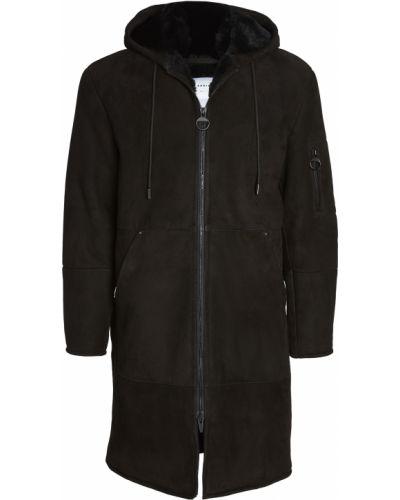 Черное кожаное длинное пальто двустороннее The Arrivals