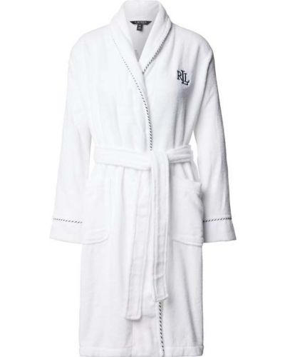 Biały szlafrok bawełniany w paski Lauren Ralph Lauren