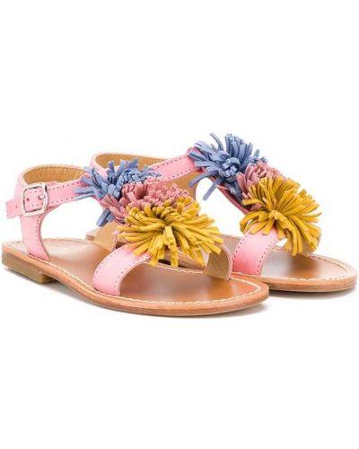 Różowe sandały skórzane na obcasie w kwiaty Gallucci Kids