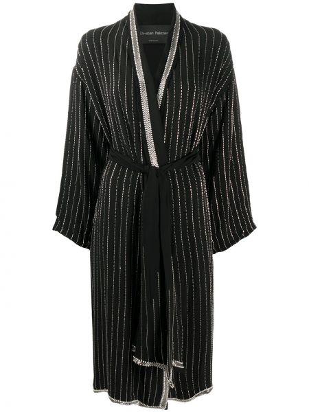 С рукавами черный халат с запахом из вискозы Christian Pellizzari