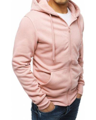 Różowa bluza z kapturem bawełniana Dstreet