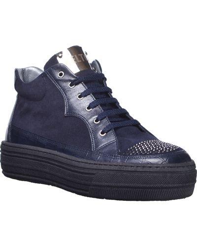 Кроссовки на платформе замшевые синий Kelton