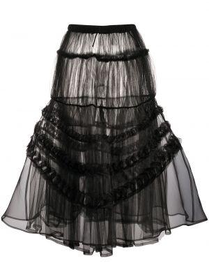 Черная юбка миди прозрачная каскадная из фатина Comme Des Garçons Noir Kei Ninomiya