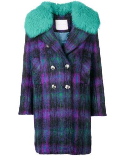 Фиолетовое длинное пальто с капюшоном на пуговицах Giada Benincasa