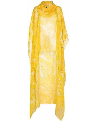 Żółty kaftan z jedwabiu z długimi rękawami Etro