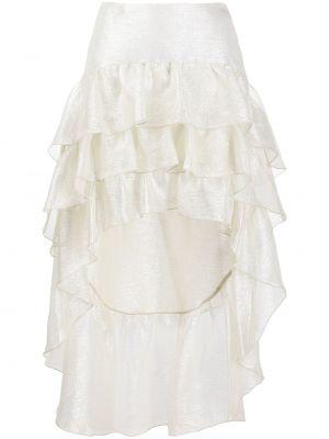 Шелковая асимметричная с завышенной талией юбка с оборками Wandering