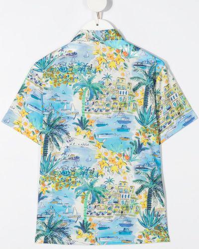 Синяя классическая рубашка с короткими рукавами с воротником Il Gufo