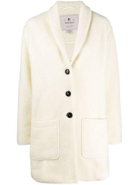 Белое однобортное шерстяное длинное пальто с накладными карманами Woolrich