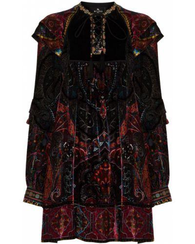 Шелковое платье мини - черное Etro