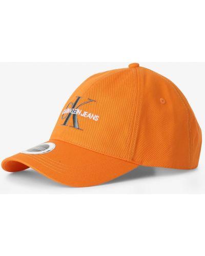 Pomarańczowa czapka z daszkiem z haftem bawełniana Calvin Klein Jeans