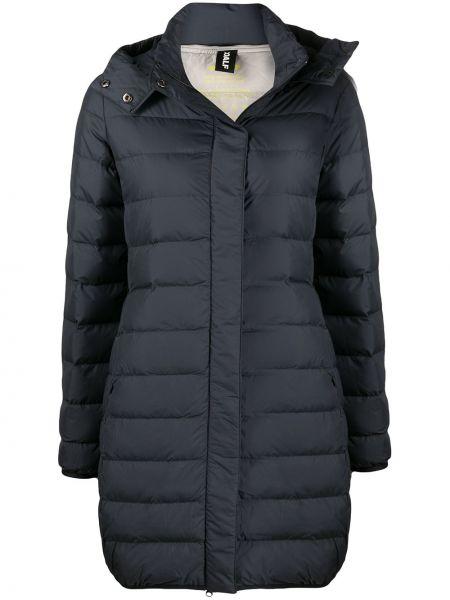 С рукавами черное пуховое стеганое пальто с перьями Ecoalf
