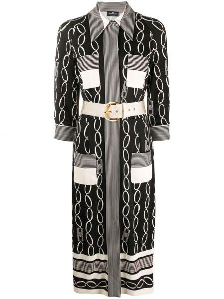 Черное платье миди на пуговицах с воротником с карманами Elisabetta Franchi