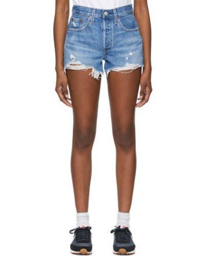 Синие кожаные джинсовые шорты с карманами Levi's®