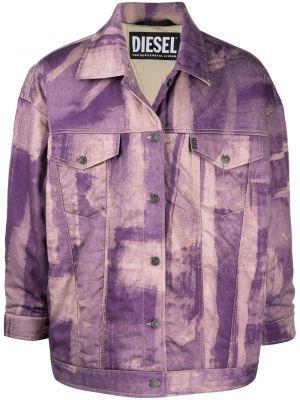 Фиолетовая джинсовая куртка с нашивками с воротником Diesel