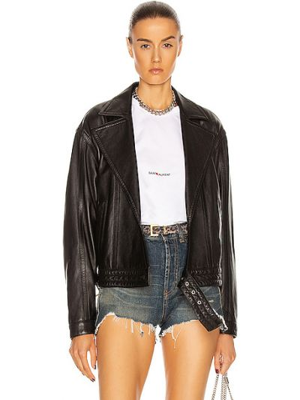 Кожаная куртка оверсайз - черная Saint Laurent