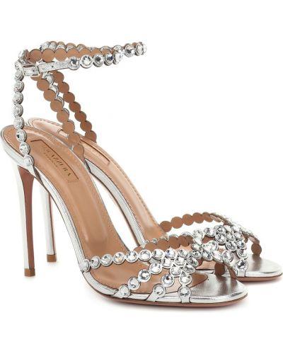 Кожаные туфли серебряный песочный Aquazzura
