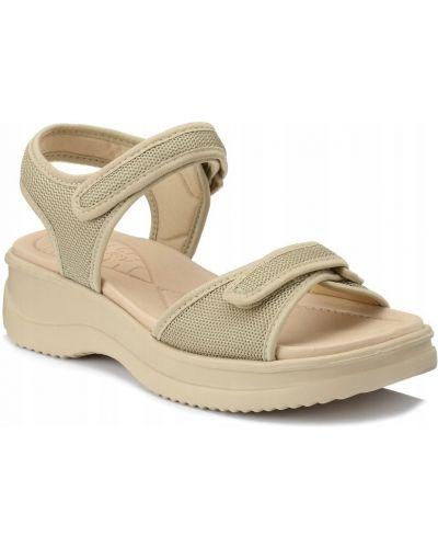 Beżowe sandały na rzepy materiałowe Azaleia