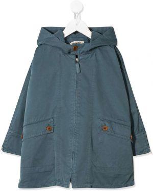 Хлопковая синяя куртка с капюшоном на молнии Caramel