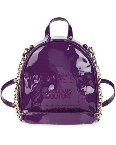 Фиолетовый кожаный рюкзак с карманами Versace Jeans Couture