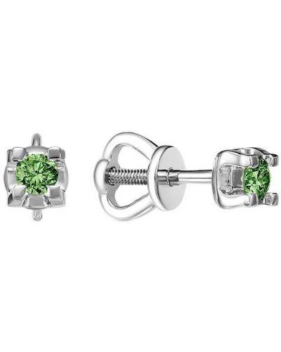 Зеленые золотые серьги с бриллиантом Imperial
