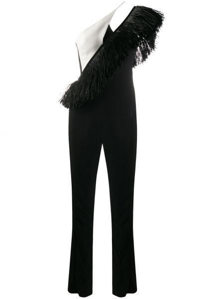 Czarny kombinezon asymetryczny z frędzlami David Koma