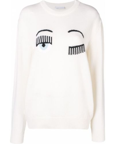 Белый шерстяной свитер Chiara Ferragni