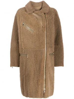 Кожаное пальто классическое с капюшоном с воротником Yves Salomon