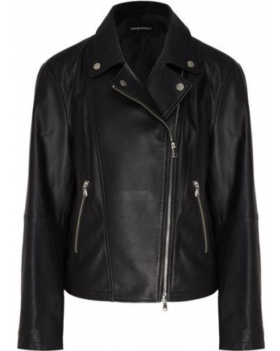 Кожаная куртка черная на молнии Emporio Armani
