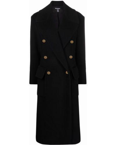 Черное пальто на пуговицах Balmain