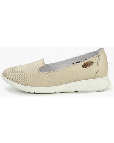 Туфли на каблуке кожаные бежевый Shoiberg