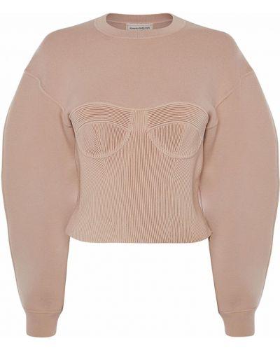 Розовый шерстяной свитер с воротником Alexander Mcqueen